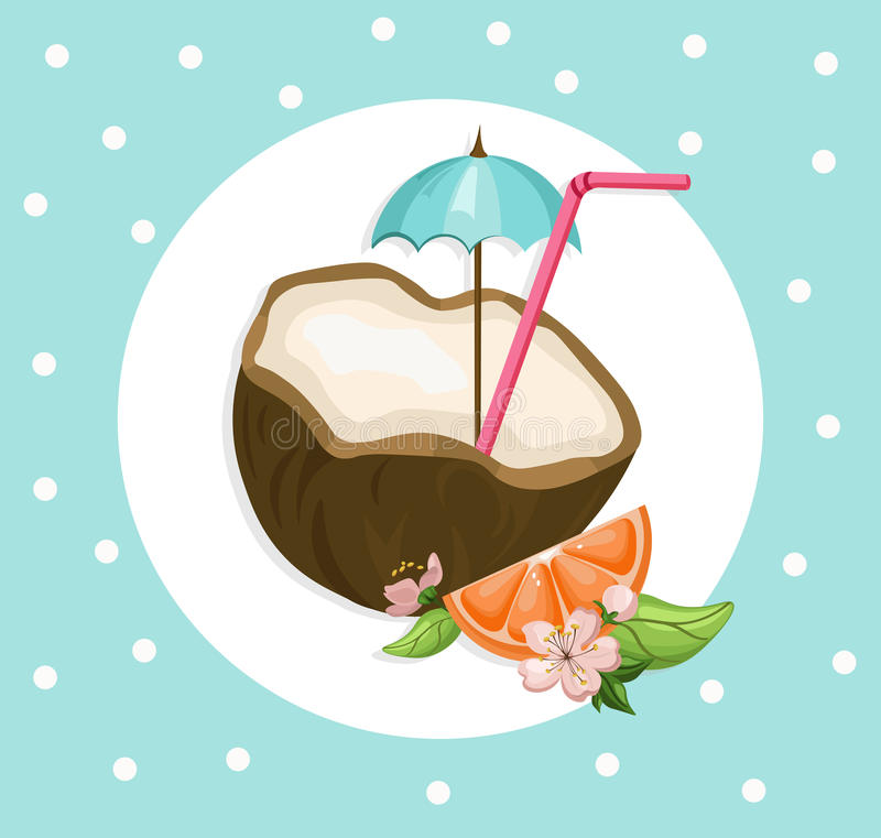 Coconut cocktail drink Summer refreshment. Vector Vintage background illustration royalty free illustration