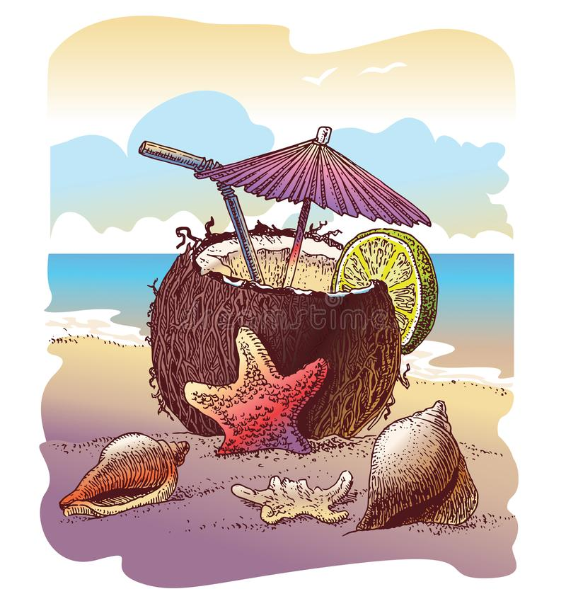 Coconut cocktail on tropical beach with sea starfish, conch shells, ocean on background, seascape, summer time, vacation stock illustration