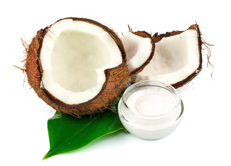 Download Coconut Cocos With Cream And Green Leaf Stock Image - Image: 30382737
