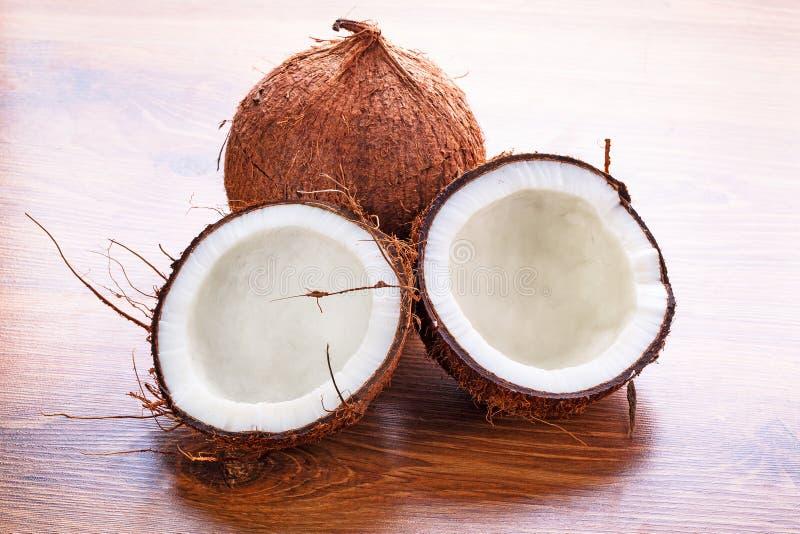Coconut cut in half stock photo