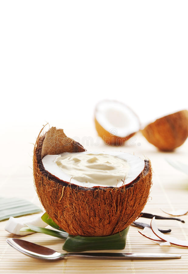 Coconut dessert. Coconut mousse dessert served in a coconut royalty free stock images