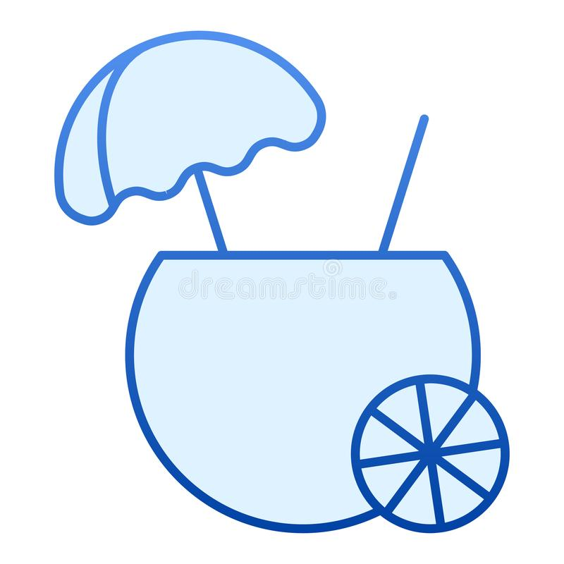 Coconut drink flat icon. Tropical blue icons in trendy flat style. Coconut cocktail gradient style design, designed for vector illustration