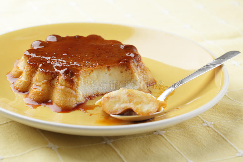 Coconut flan royalty free stock photo