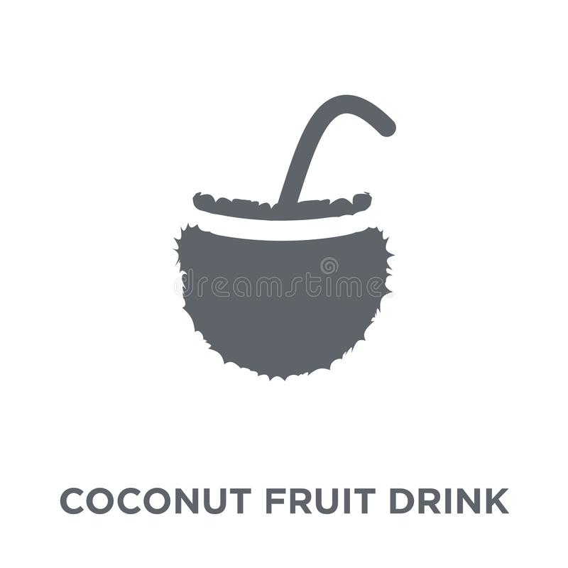Coconut fruit drink with straw icon from Brazilian icons collect royalty free illustration