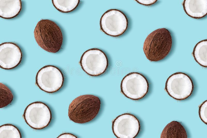 Coconut fruit on a pastel blue background. Minimal summer conce stock photo