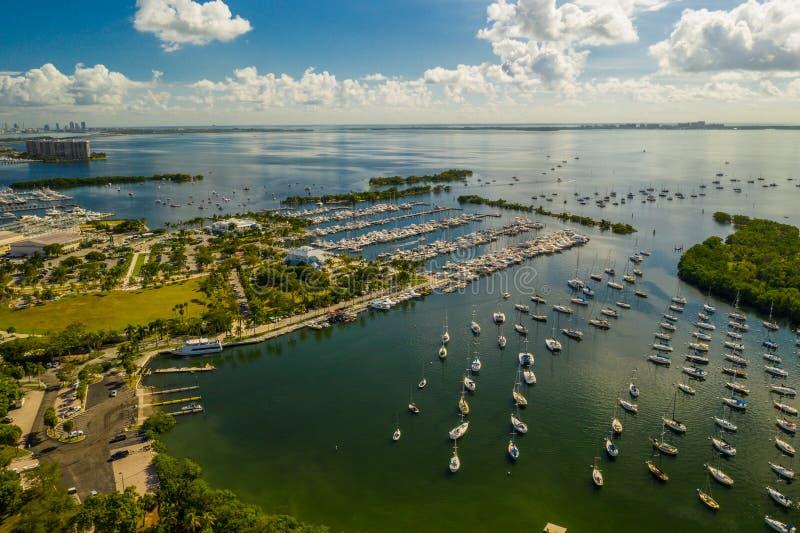 Coconut Grove Dinner Key Marina aerial drone photo. USA royalty free stock image