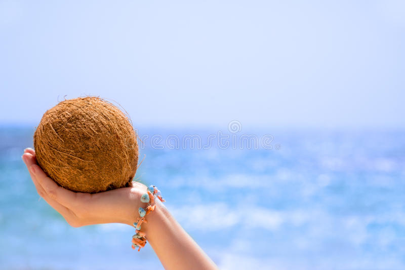 Coconut in his hand royalty free stock image