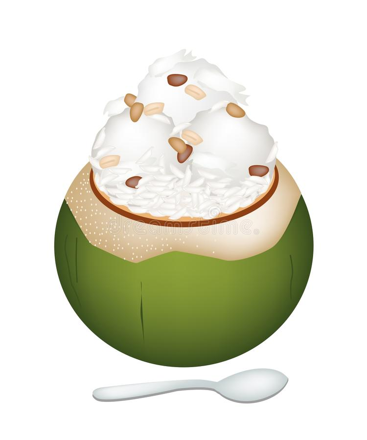 Coconut Ice Cream with Nuts and Sticky Rice vector illustration