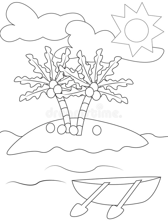 Coconut Island Coloring Page Stock Illustration Illustration of