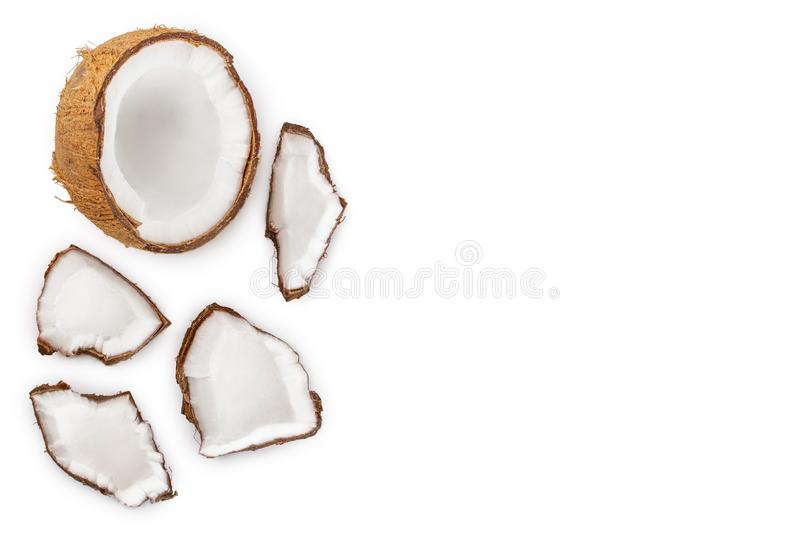 Coconut isolated on white background with copy space for your text. Top view. Flat lay.  stock illustration