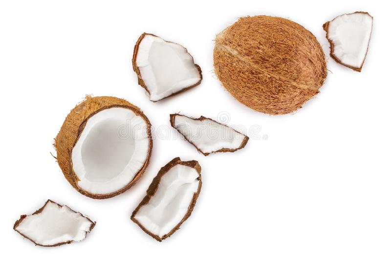 Coconut isolated on white background with copy space for your text. Top view. Flat lay.  royalty free illustration