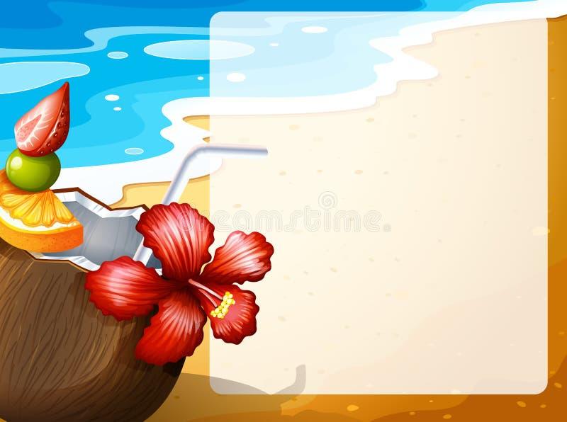 Coconut juice on the beach vector illustration