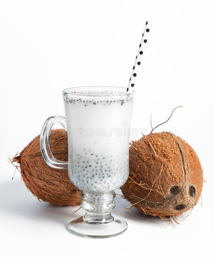 Coconut milk with chia seeds jelly royalty free stock photo