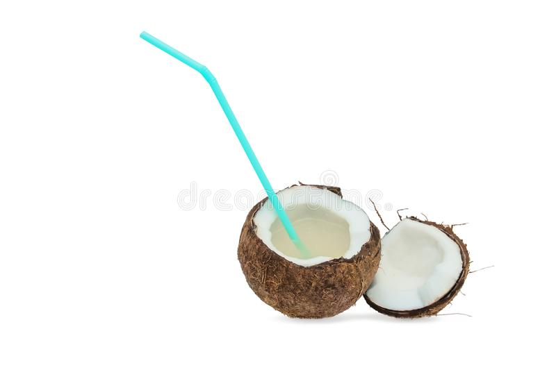 Coconut and coconut milk with cocktail pipe isolated on white background with shadow stock photos
