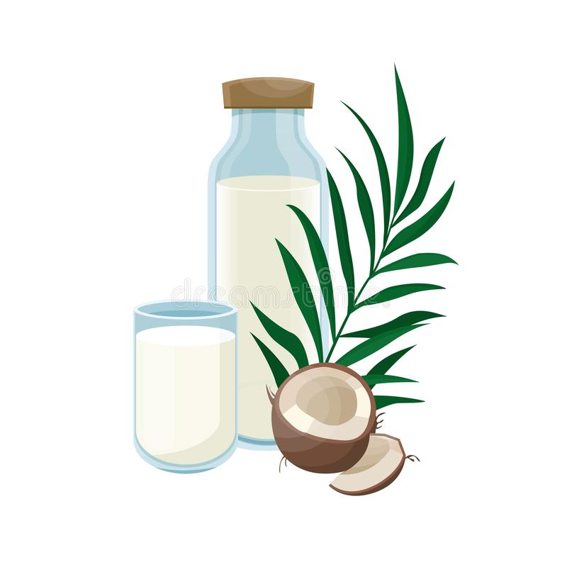 Coconut milk in a glass bottle.  Healthy lifestyle. Vegetable milk. Coconut vegan milk in a bottle. Vector illustration stock illustration