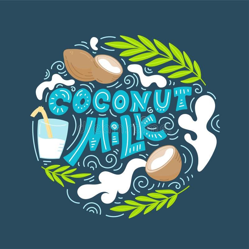 Coconut milk hand drawn lettering stock illustration