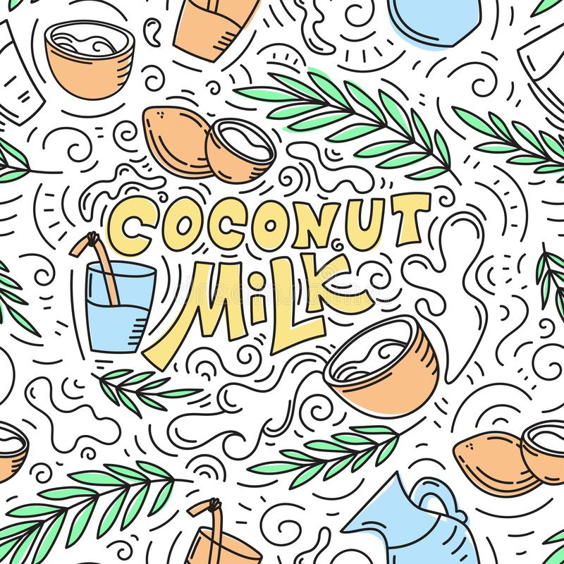 Coconut milk hand drawn lettering seamless pattern. Seamless pattern background. Coconut milk hand drawn lettering. Glass with milk, coconut, leaves and glass royalty free illustration