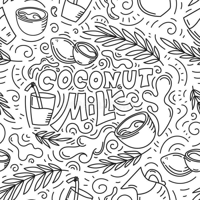 Coconut milk hand drawn lettering seamless pattern. Seamless pattern background. Coconut milk hand drawn lettering. Glass with milk, coconut, leaves and glass stock illustration