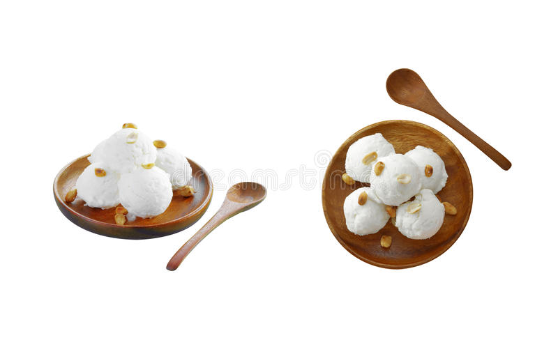 Coconut and milk icecream. On white background stock images
