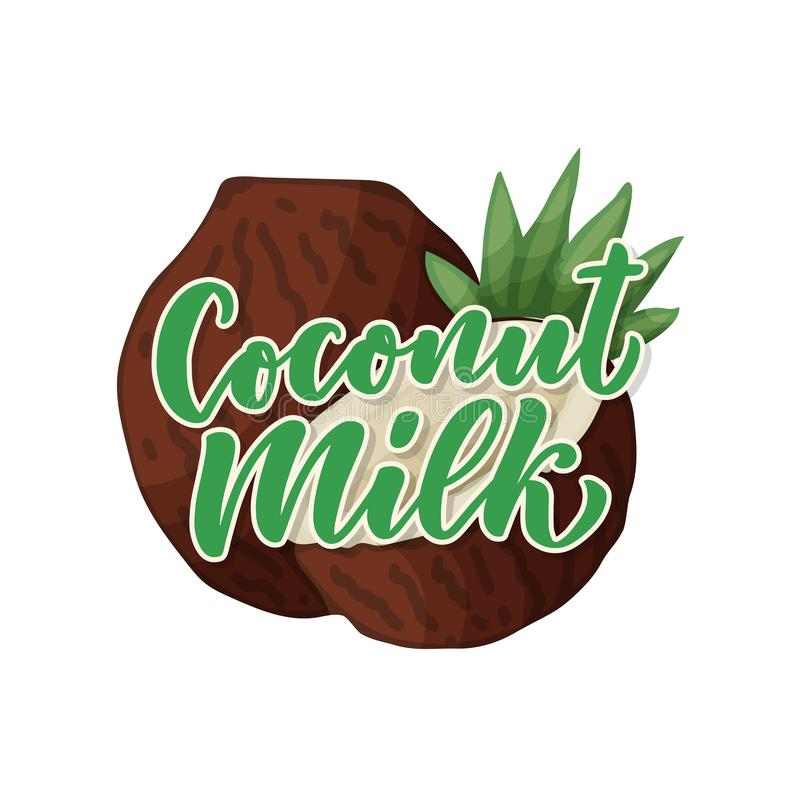 Coconut milk lettering for banner, logo and packaging design. Organic nutrition healthy food. Phrase about dairy product. Vector illustration royalty free illustration