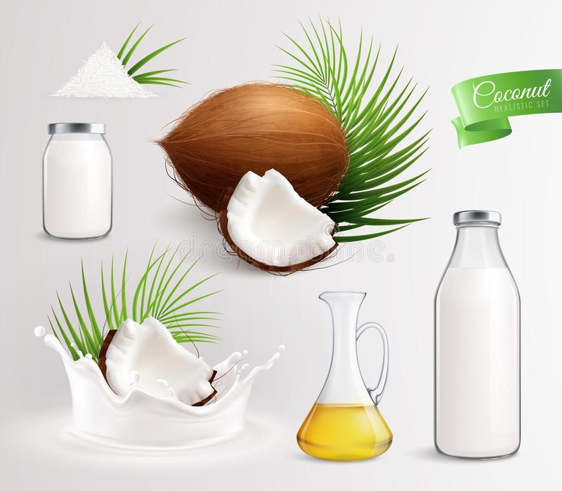 Coconut Milk Products Set. Coconut products set with realistic images of coconut fruits leaves oil and milk in glass bottles vector illustration royalty free illustration