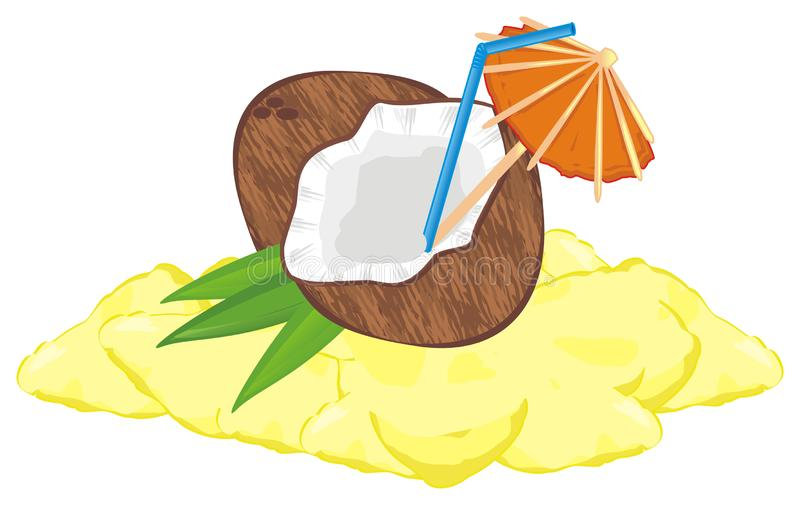 Coconut milk on the sand. Coconut milk with tube and umbrella lying on the yellow beach stock illustration