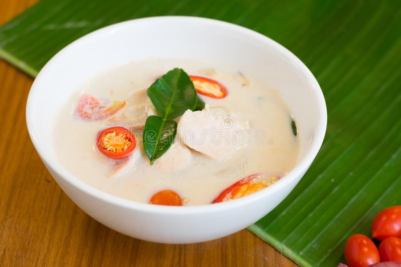 Coconut milk soup with chicken Tom Kha Gai, Thai food. stock images
