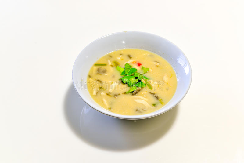 COCONUT MILK SOUP WITH CHICKEN royalty free stock images