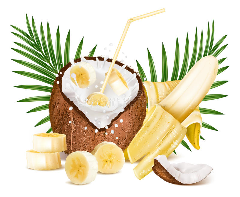 Coconut with milk splash and slices of bananas.  royalty free illustration