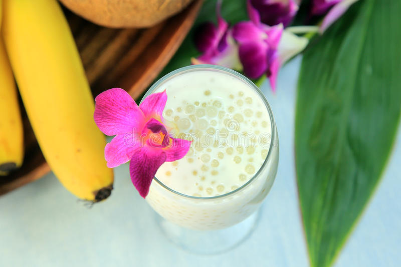 Coconut milk with tapioca. It is a drink of sweet coconut milk with the tapioca stock images