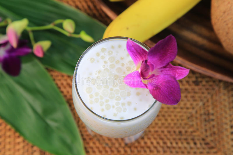 Coconut milk with tapioca. It is a drink of sweet coconut milk with the tapioca royalty free stock image