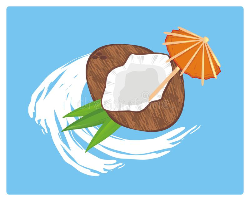 Coconute and coconut milk. Coconut milk with umbrella on the blue background stock illustration