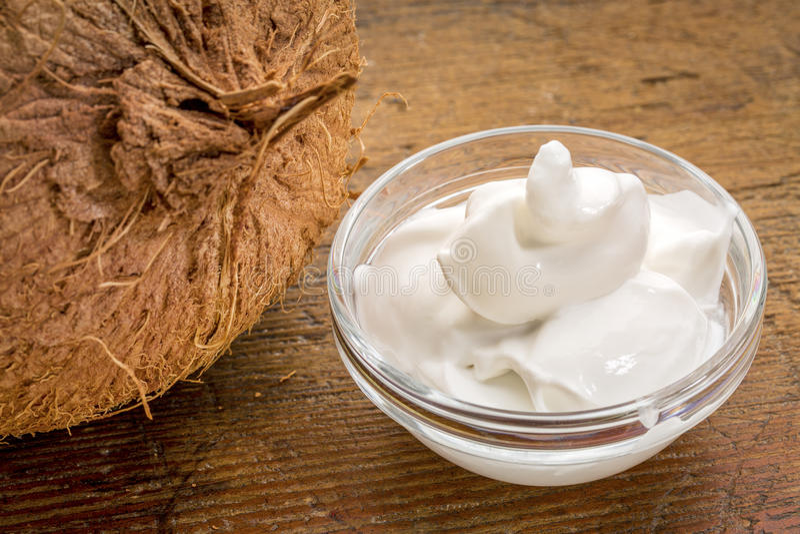 Coconut milk yogurt royalty free stock photography