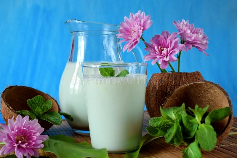 Coconut milkshake with mint flavour stock image