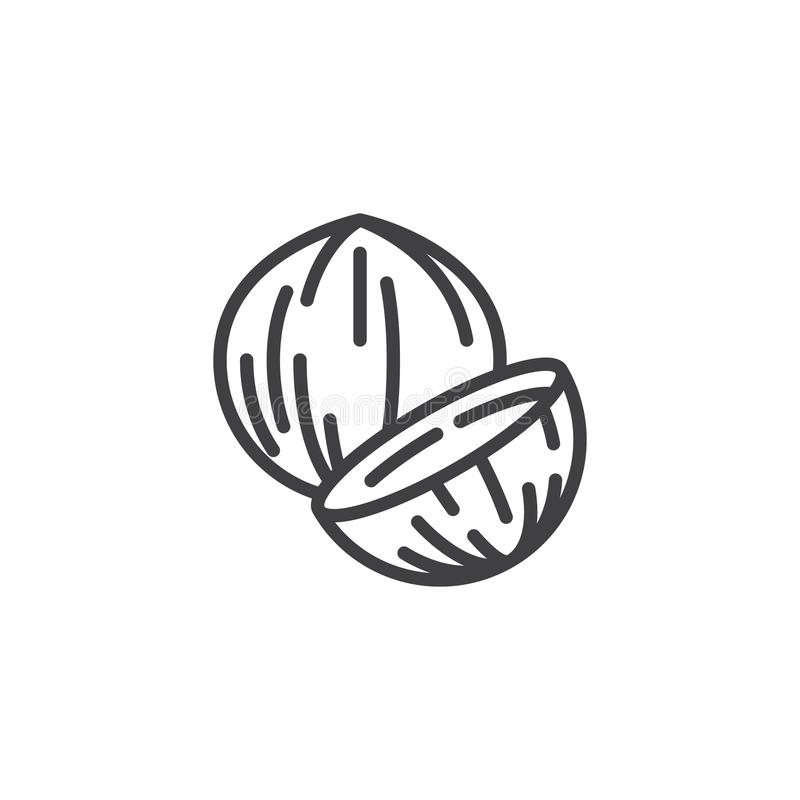 Coconut nut line icon. Linear style sign for mobile concept and web design. Coconut whole and slice outline vector icon. Symbol, logo illustration. Vector royalty free illustration