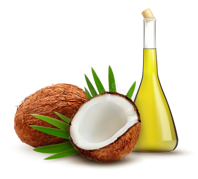 Coconut with oil. Background with coconut with oil. Vector