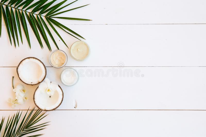 Coconut oil and cosmetics stock photos