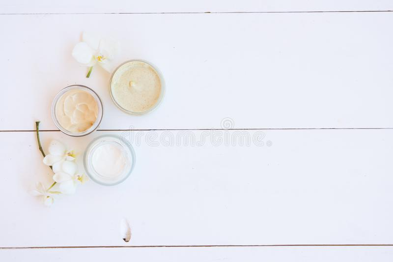 Coconut oil and cosmetics royalty free stock photo