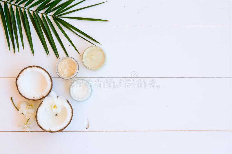 Coconut oil nd cosmetics stock photography