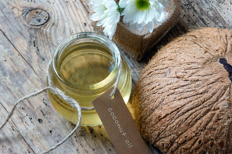 Coconut oil, essential oil, organic cosmetic stock images