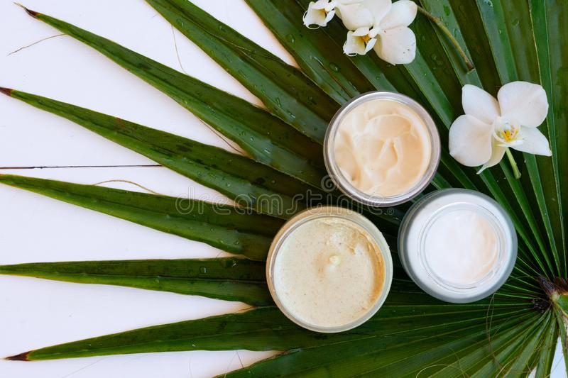 Coconut oil nd cosmetics royalty free stock images