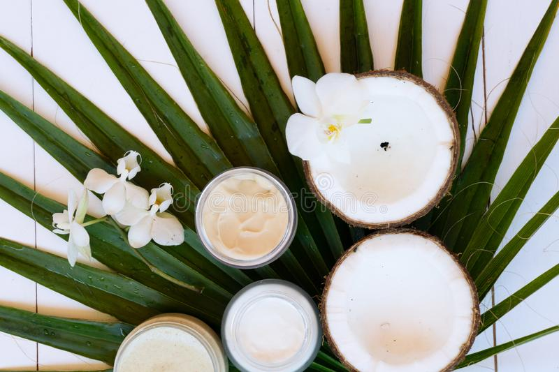 Coconut oil nd cosmetics stock photos