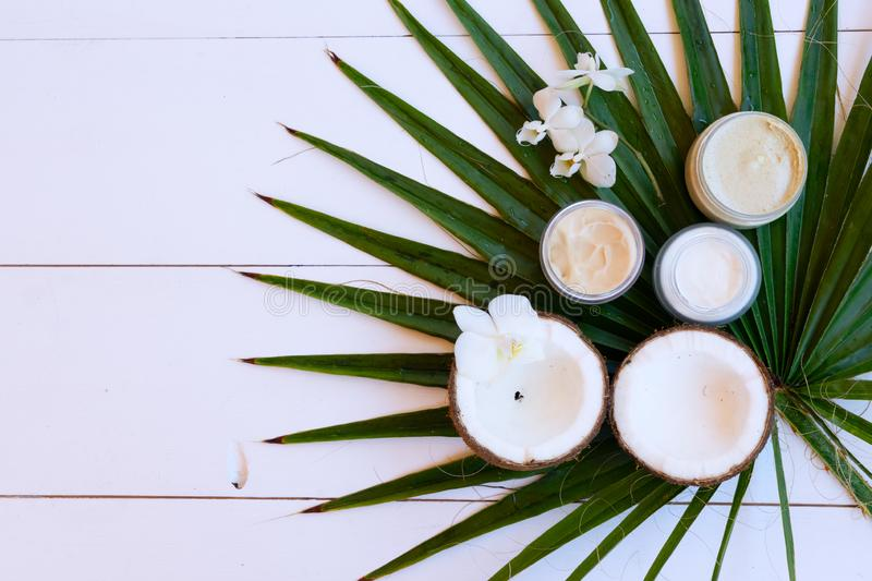 Coconut oil nd cosmetics stock photo