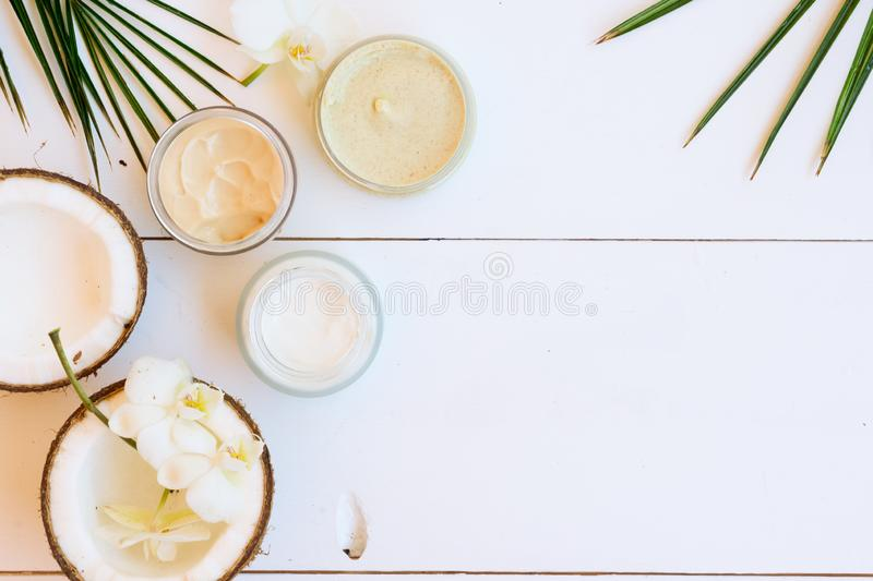 Coconut oil nd cosmetics royalty free stock photography