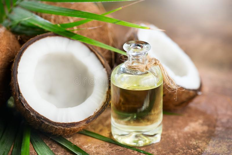 Coconut palm oil in a bottle with coconuts and green palm tree leaf on brown background. Coco nut closeup. Healthy food, skincare. Concept royalty free stock images