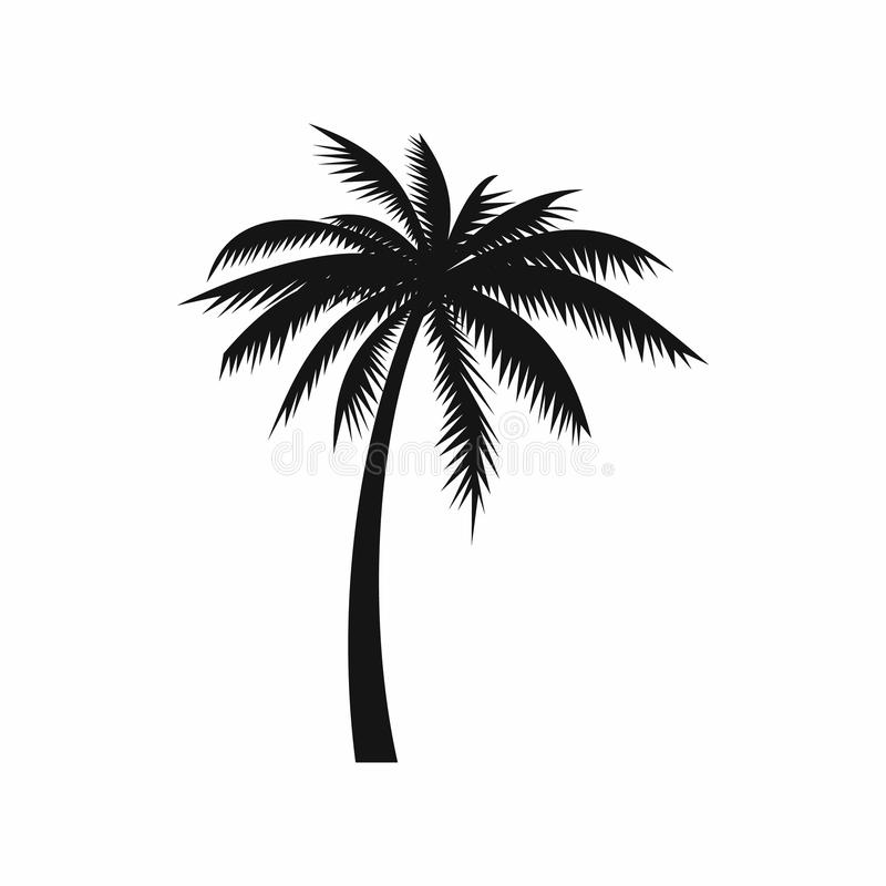 Coconut palm tree icon, simple style stock illustration