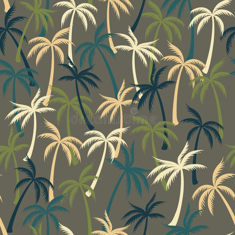 Coconut palm tree pattern textile seamless tropical forest background. Flat vector fabric repeating pattern. Minimal tropical plants, coconut trees, beach stock illustration