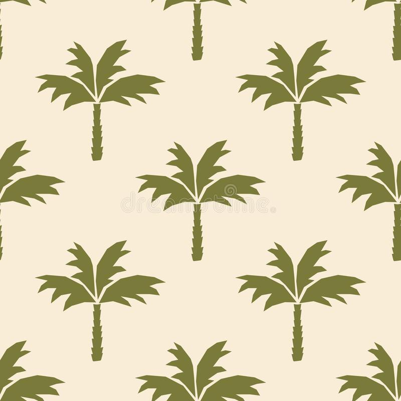 Coconut palm tree silhouettes. Botanical vector seamless pattern . Hand-drawn background for fabric, Wallpaper, stationery, cases. Or gift wrapping stock illustration