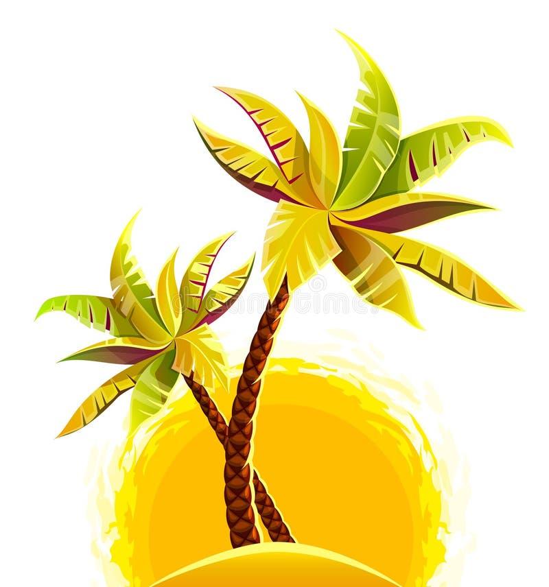 Coconut palm trees on sand island vector illustration