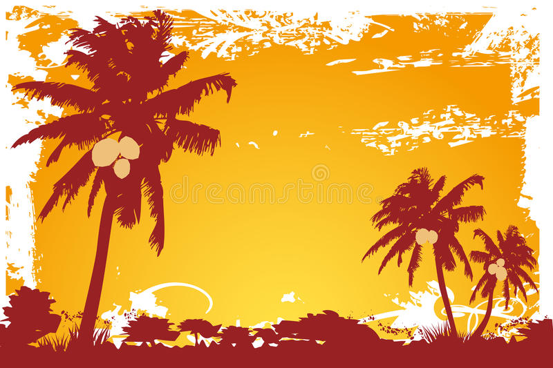 Coconut palm trees and sunset. Illustration of coconut palm trees and sunset - vector file added royalty free illustration